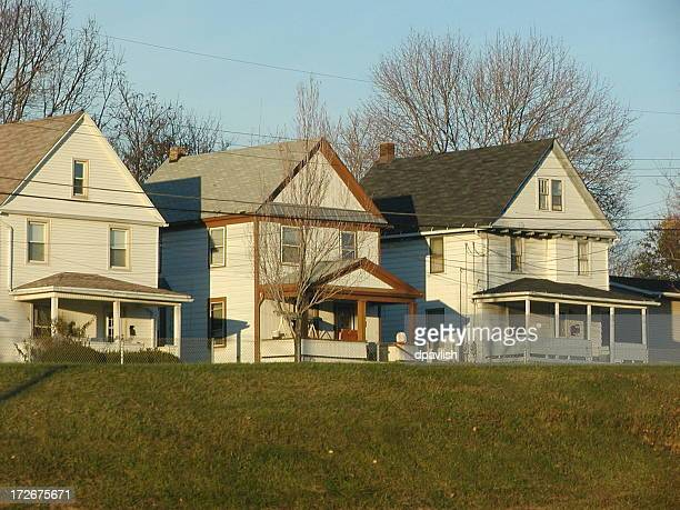 three homes in akron - ohio stock photos and pictures