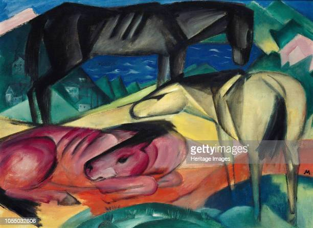 Three horses II 1913 Found in the Collection of Staatliche Museen Berlin Artist Marc Franz