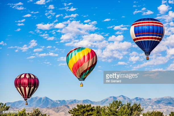 three hot air balloons - three objects stock pictures, royalty-free photos & images
