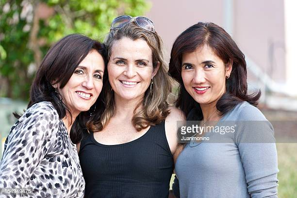 three housewives posing outdoors - the real housewives of. stock pictures, royalty-free photos & images