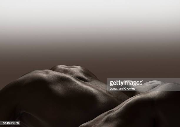 three human naked bodies, monochrome - birthday suit stock pictures, royalty-free photos & images