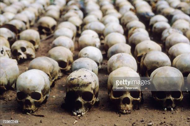 Three hundred skulls sit in lines outside a chapel November 6 1994 in Rwanda as authorities determine the extent of the genocide that resulted in the...