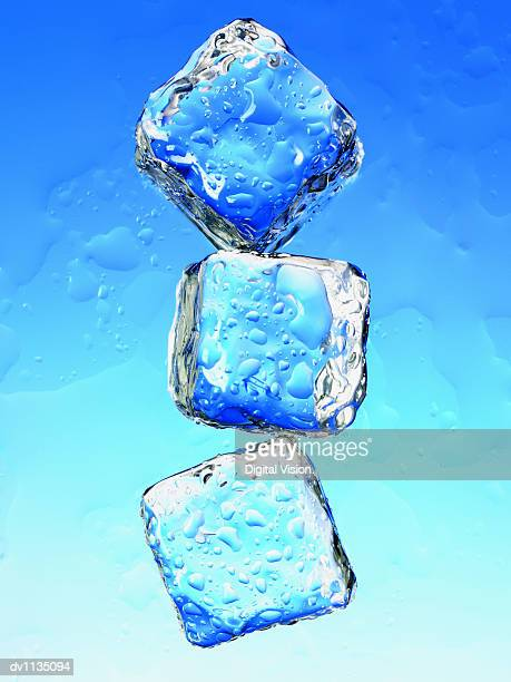 three ice cubes - ice cube stock pictures, royalty-free photos & images