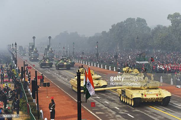 Three Indian Army T90 Bishma tanks participate in India's Republic Day parade in New Delhi on January 26 2016 Thousands gathered in New Delhi amid...
