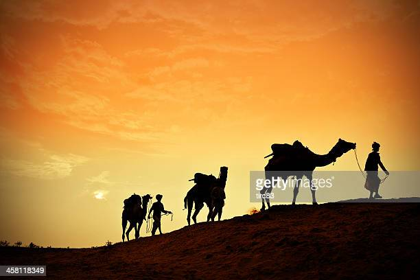 three indian camel riders at sunset - three wise men stock photos and pictures