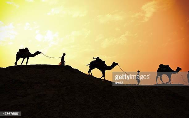 tres india pasajeros de camello al atardecer - reyes magos de oriente fotografías e imágenes de stock