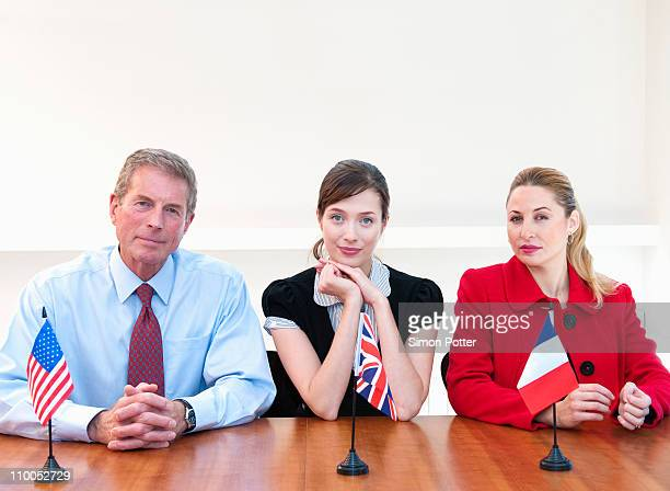 Three international business people