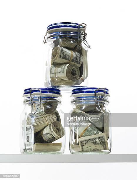 Three jars of money