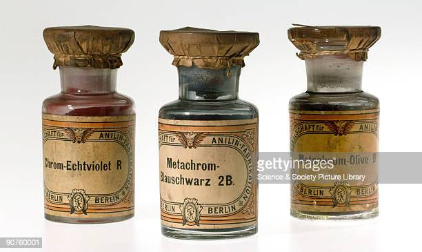 Three jars of synthetic colorants manufactured by Actien Gesellschaft für Anilin Fabrikation Berlin Germany ChromEchtviolet R MetachromBlauschwarz 2B...