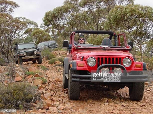 Three Jeeps driving offroad, rocky tracks in Flinders Ranges S.A.