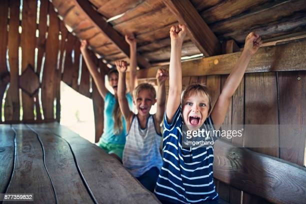 Three kids cheering inside of a tree house