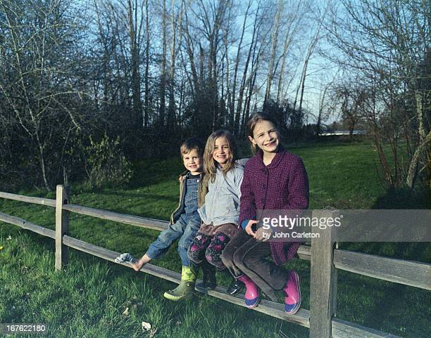 Three kids on a fence