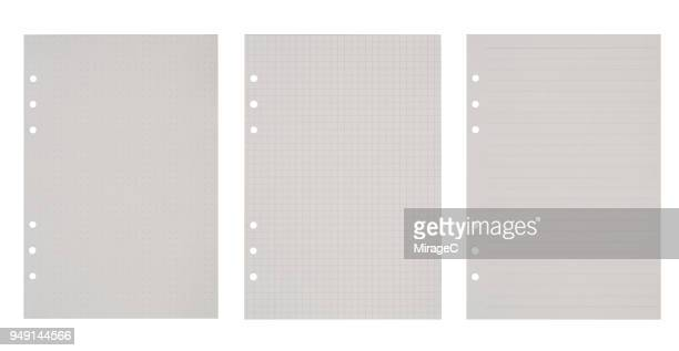 three kinds of blank paper - lined paper stock pictures, royalty-free photos & images