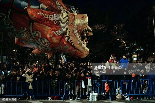 Three Kings Parade in Madrid on January 5 2016 The cavalcade has as its central theme the extraordinary journey of the three wise men from distant...