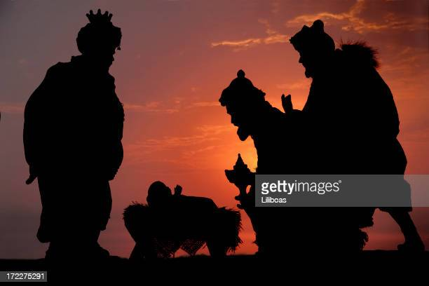 three kings (photographed silhouette) - jesus birth stock pictures, royalty-free photos & images