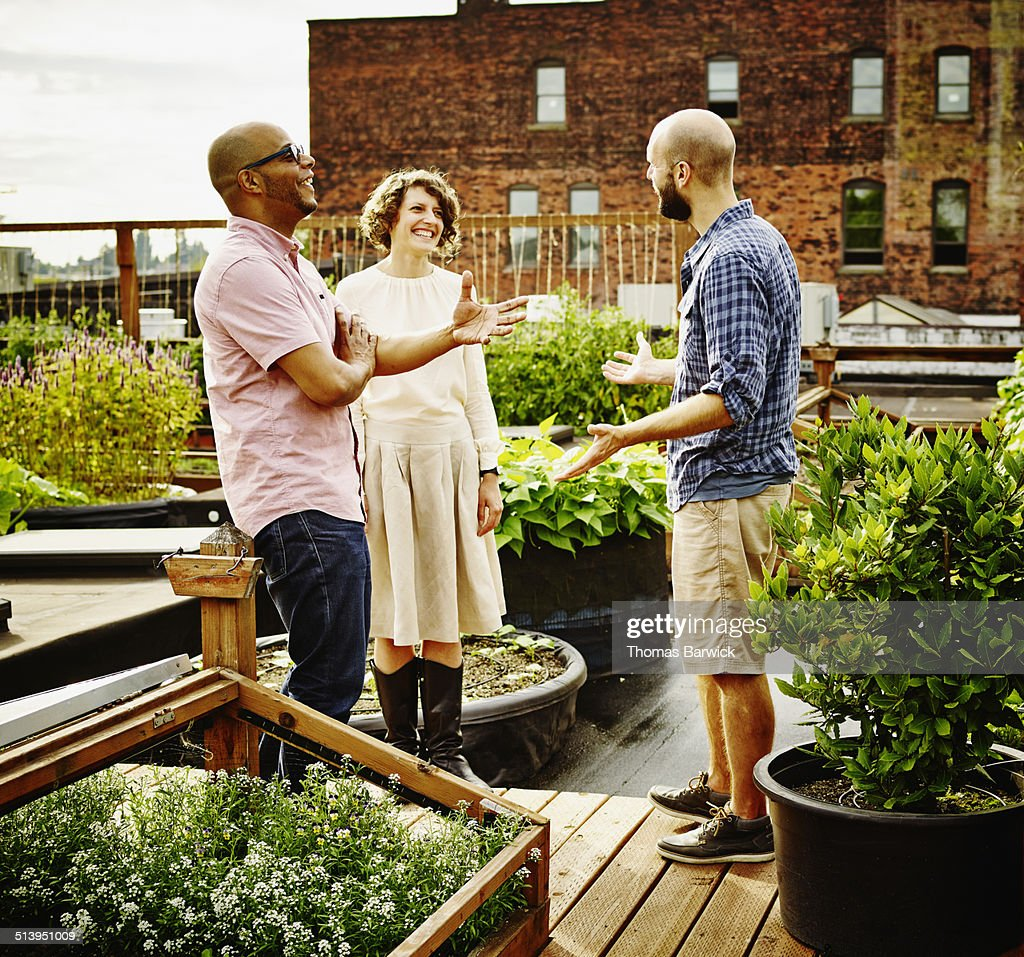 Three laughing friends in discussion on rooftop : Stock Photo