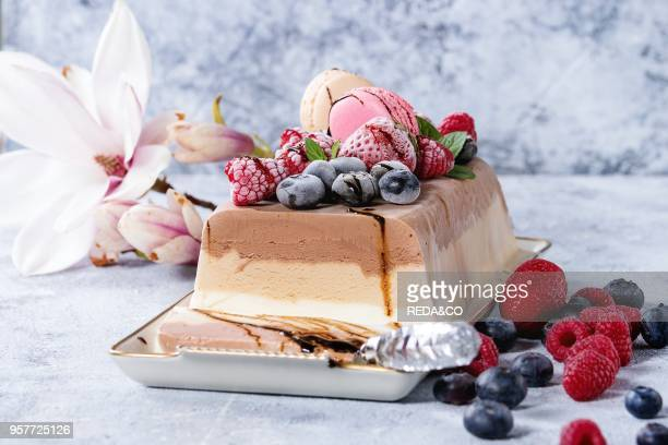 Three layers vanilla coffee and chocolate ice cream cake served with frozen berries and macaroons biscuits on rectangular white plate textile napkin...