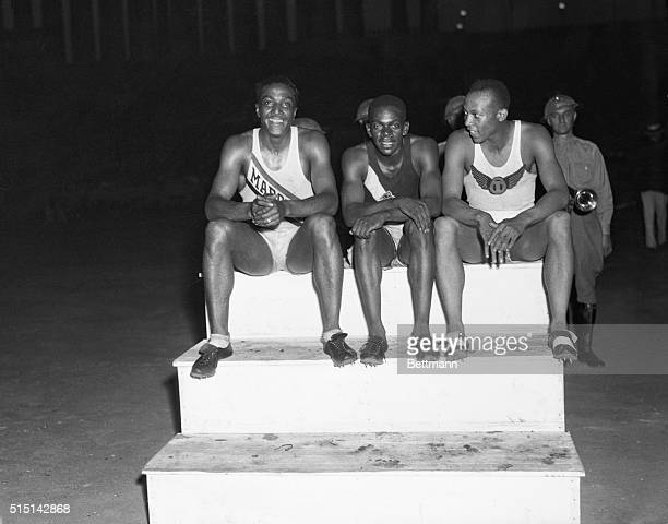 Three Leaders in 100Meter Event at National Amateur Athletic Union Meet Chicago Illinois Left to right are Ralph Metcalfe Marquette University James...