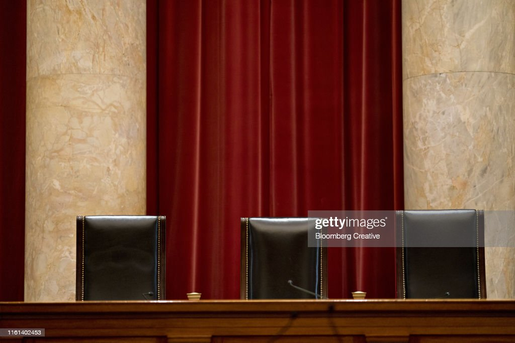 Three Leather Chairs In A Courtroom : Stock Photo