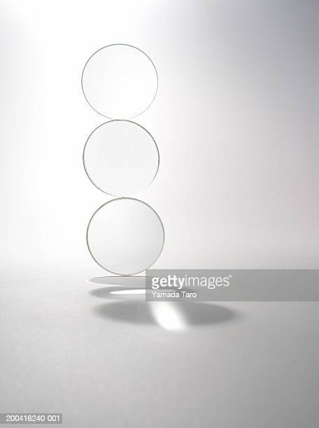 Three lenses stacked on top of each other, close-up