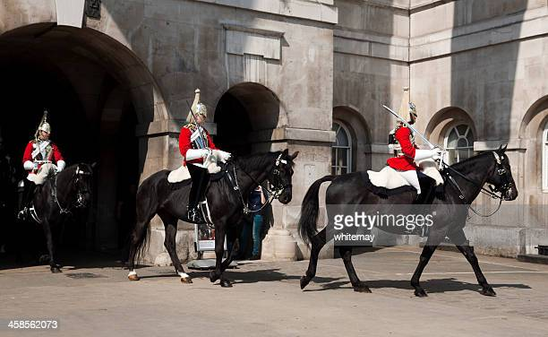 three life guards of the blues and royals - horse guards parade stock pictures, royalty-free photos & images