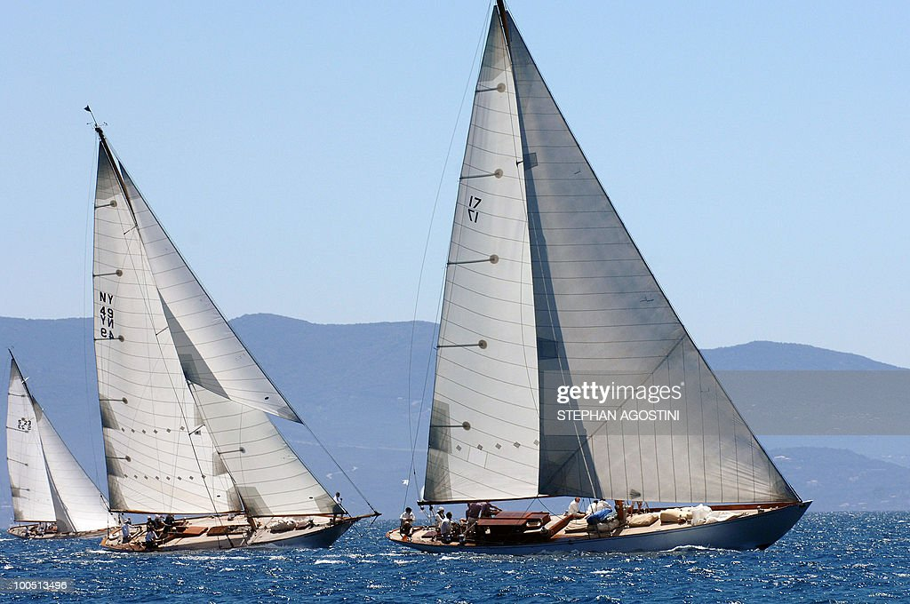Three luxury yachts sail on May 25, 2010 off Ajaccio, on the French mediterranean island of Corsica, during the Regates Imperiales (Imperial regattas).