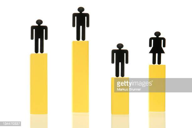 Three male figures and one female figure standing on yellow columns of various heights