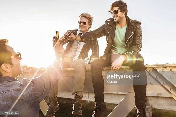Three male friends making a beer toast on rural railway bridge, Franschhoek, South Africa