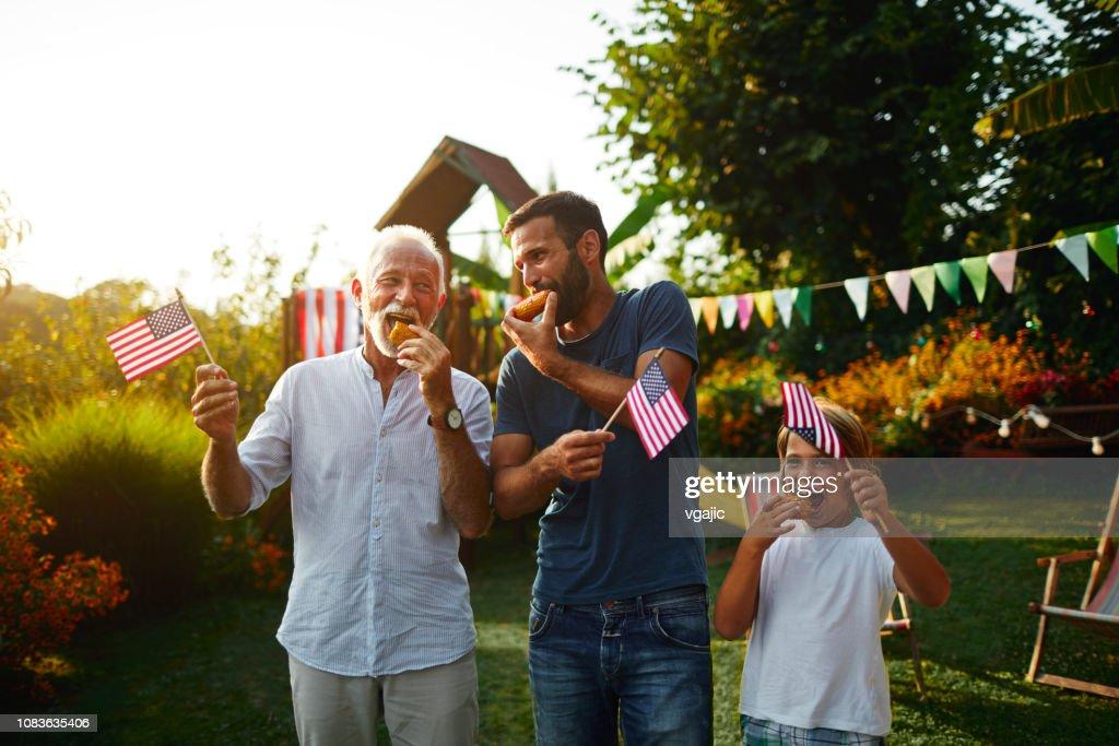 Three Male Generations Celebrating 4th of July : Stock Photo