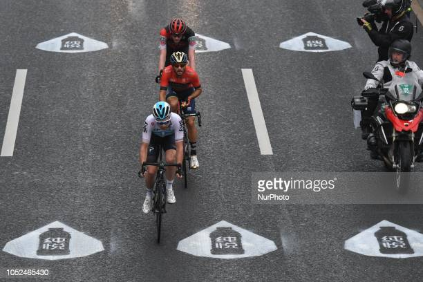 A three man breakaway Merida and Owain Doull of UK and Team SKY Manuele Boaro of Italy and Bahrain Merida and Nathan Van Hooydonck of Belgium and BMC...