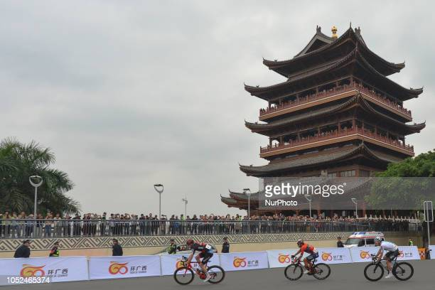 A three man breakaway Nathan Van Hooydonck of Belgium and BMC Racing Manuele Boaro of Italy and Bahrain Merida and Owain Doull of UK and Team SKY...