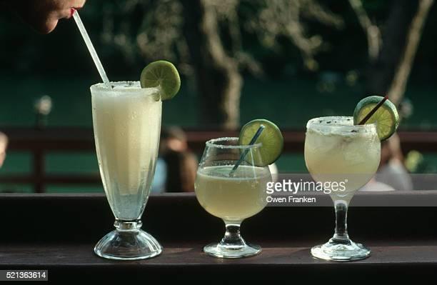 three margaritas - margarita stock pictures, royalty-free photos & images