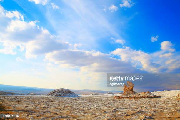 Three Maria's rock formations  - Atacama Desert Moon and death valley at sunset,  Volcanic landscape panorama –  Chile