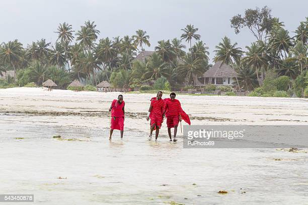 three masai warriors walking on the beach - pjphoto69 stock pictures, royalty-free photos & images