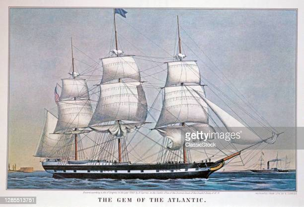 Three Masted Tall Sailing Ship The Gem Of The Atlantic - Currier & Ives Lithograph - 1849