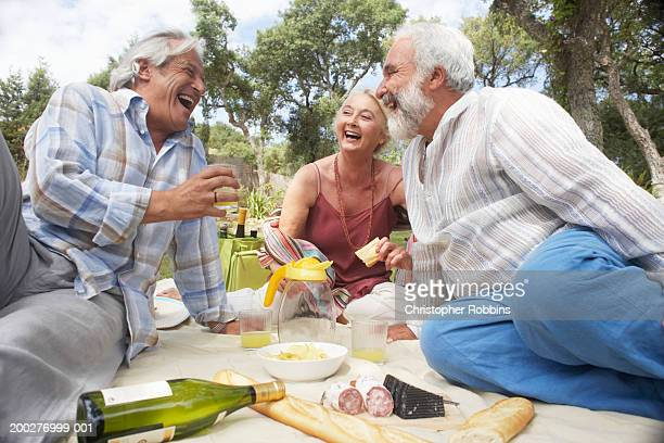 Three mature friends having picnic, laughing