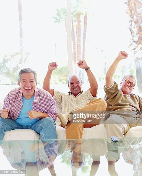 Three mature men cheering on sofa
