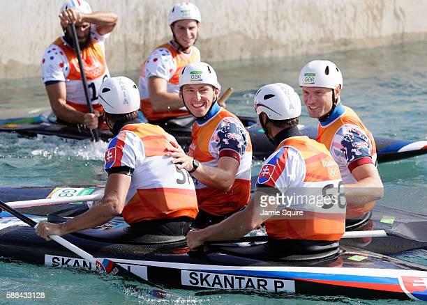 Three medalists Ladislav Skantar and Peter Skantar of Slovakia David Florence and Richard Hounslow of Great Britain and Gauthier Klauss and Matthieu...