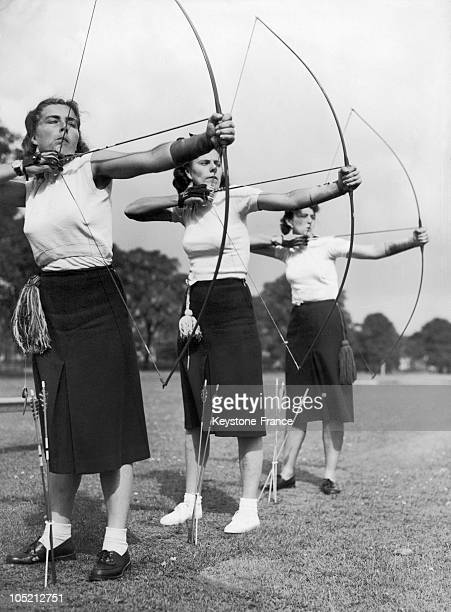 Three Members Of The Czech Team Trains For Archery At Dulwich College In London For The International Archery Tournament August 9, 1948