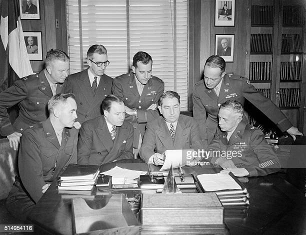 Three members of the defense counsel for condemned Jap General Yamashita, acting on orders from the secretary of war, flew to Washington to file...