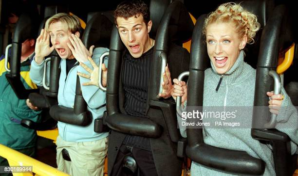 Three members of the Pop group Steps 'H' Lee and Faye on the Shockwave ride at Drayton Manor Theme Park where the group launched the new Stormforce...