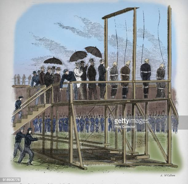 Three men and a woman hanged for the assassination of Lincoln' c1865 Mary Surratt Lewis Powell David Herold and George Atzerodt hanged for the...