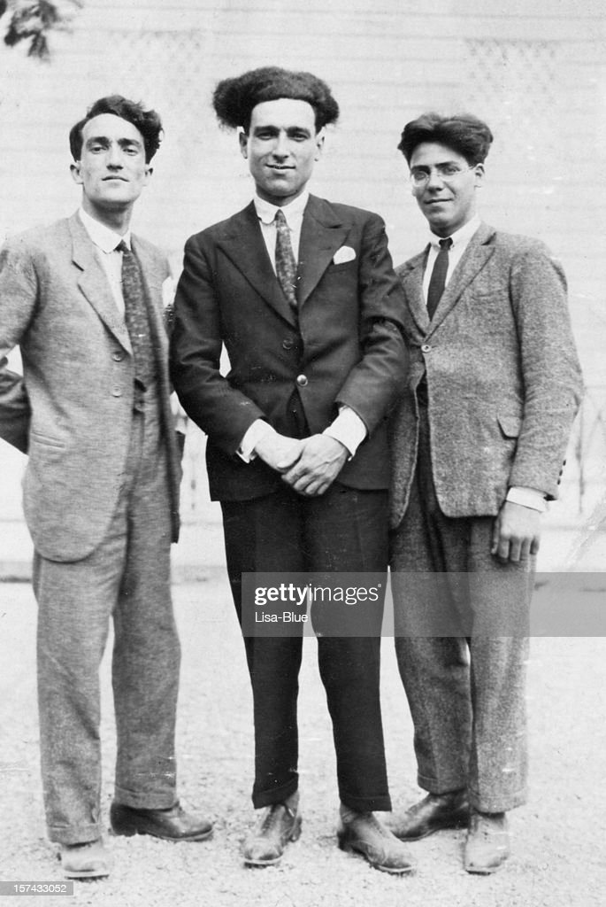 Three Men from 1917.Black And White : Stock Photo
