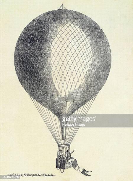 Three men in a Hot Air Balloon pub 1800s