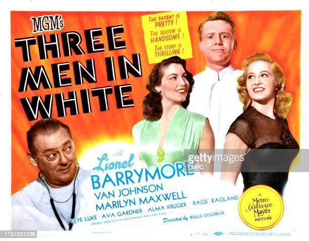 Three Men In White lobbycard Lionel Barrymore Ava Gardner Van Johnson Marilyn Maxwell 1944