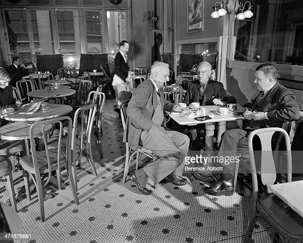 Three men meet for coffee Lafayette Hotel Greenwich Village New York City New York circa 1945