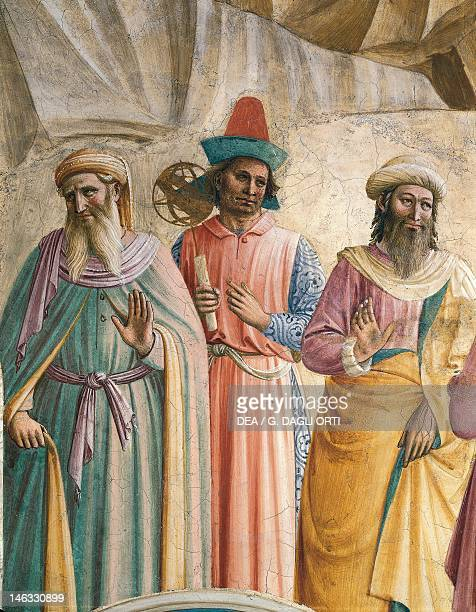 Three men of science detail from the Adoration of the Magi 14371445 by Giovanni da Fiesole known as Fra Angelico fresco Cells of the first floor St...