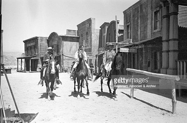 Three men riding horses in the film The Good the Bad and the Ugly 1966
