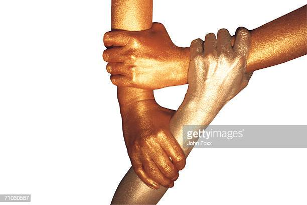 three metallic hands holding each other - body paint stock pictures, royalty-free photos & images