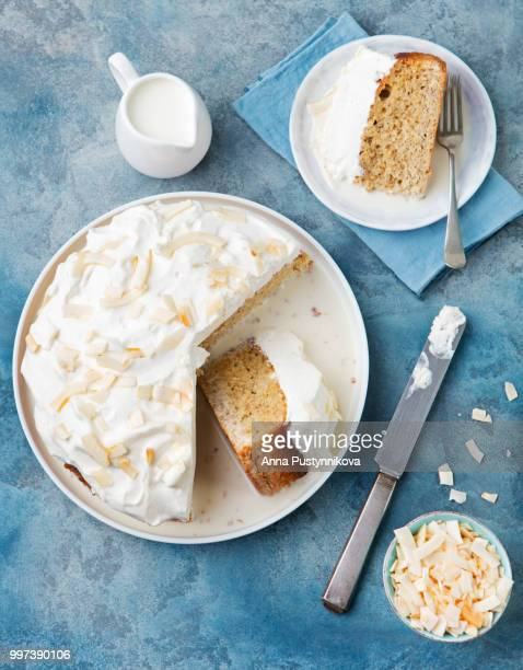 three milk cake, tres leches cake with coconut. traditional dessert of latin america top view - carrot cake stock pictures, royalty-free photos & images